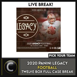 2020-PANINI-LEGACY-FOOTBALL-12-BOX-FULL-CASE-BREAK-F494-PICK-YOUR-TEAM