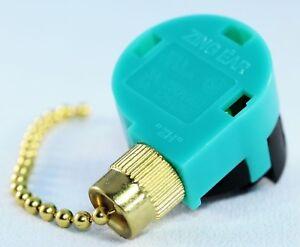 ZING EAR ZE-268S6 3 Speed 4 Wire Green PULL CHAIN SWITCH Brass Fan ...