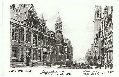 Warwickshire Postcard - Old Birmingham - Corporation Street & Law Courts   U678