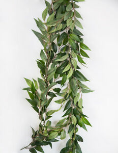Image Is Loading ARTIFICIAL RUSCUS GARLAND 6FT GREEN LEAF SILK