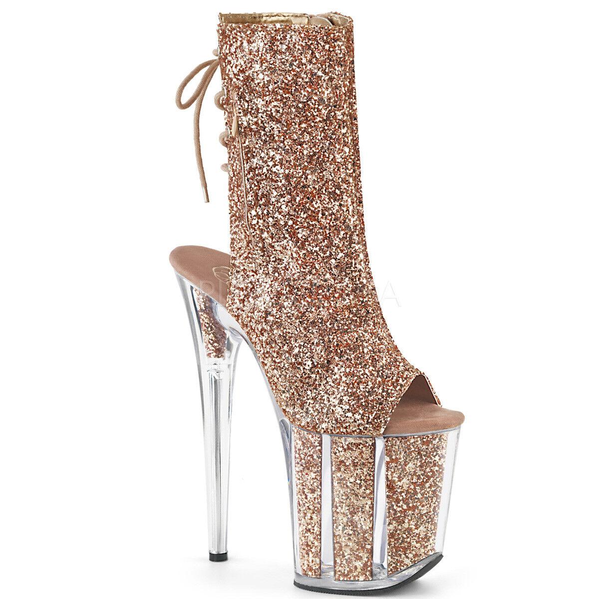 Pleaser Sexy Taco de 8    de oro rosadodo de la Plataforma De Tacón Puntera Abierta Purpurina Mujer botas al tobillo  ventas al por mayor