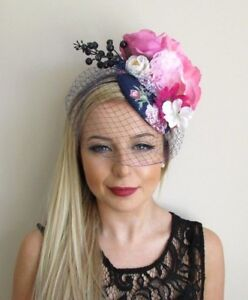 Navy Blue White Hot Pink Rose Birdcage Veil Flower Fascinator Hat ... 9f5657a522d