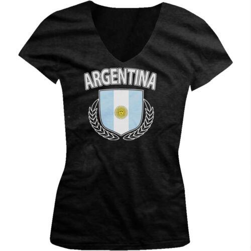 Argentina Olive Branch Crest Argentinian Pride Juniors V-neck T-shirt