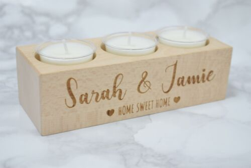 couples Cadeau Personnalisé New Home-cadeau gravé Hêtre Bois Photophore