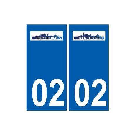 02 Bucy-le-Long logo  ville autocollant plaque sticker -  Angles : droits