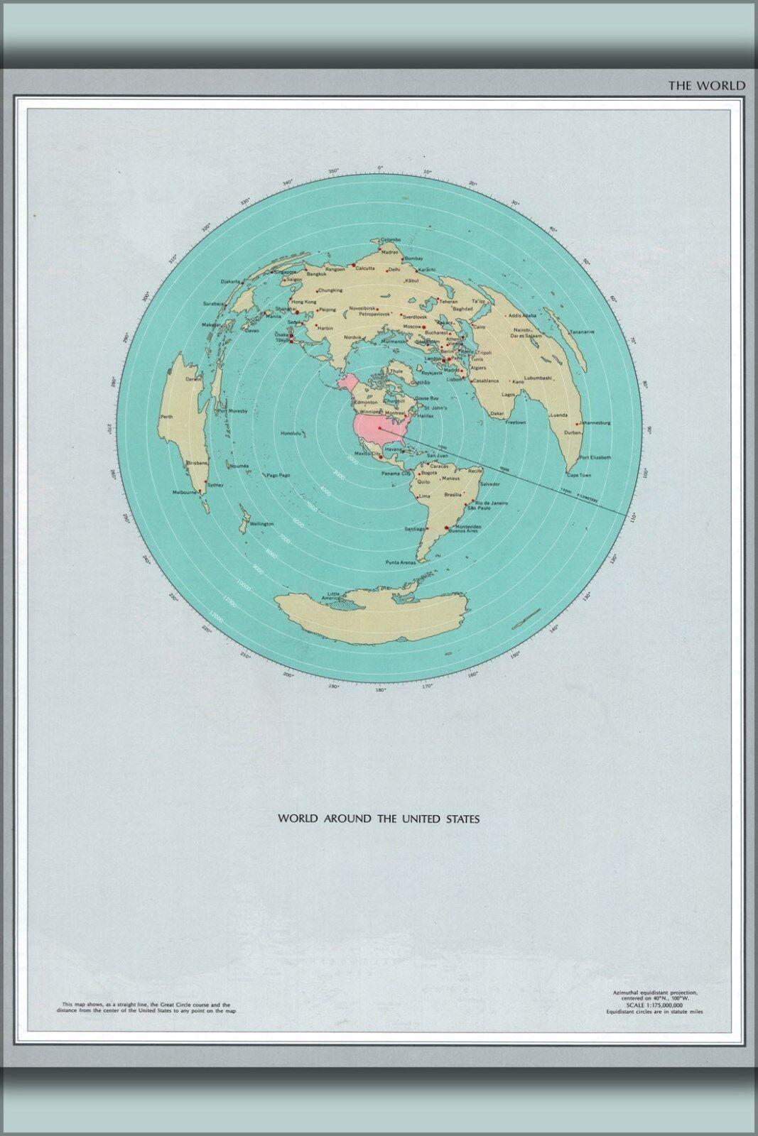 Plakat, Viele Größen; Karte von Weltweit um die Vereinigte Staaten