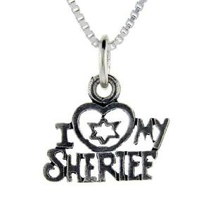 Sterling-Silver-034-I-Love-My-Sheriff-034-Word-Pendant-Charm-18-034-Italian-Box-Chain