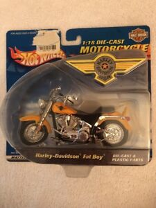 Hot Wheels Harley Davidson 1 18 Diecast Fat Boy Motorcycle Ebay