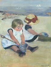 MARY CASSATT AMERICAN CHILDREN PLAYING BEACH OLD ART PAINTING POSTER BB6144A