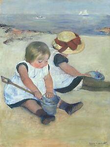 MARY-CASSATT-AMERICAN-CHILDREN-PLAYING-BEACH-OLD-ART-PAINTING-POSTER-BB6144A