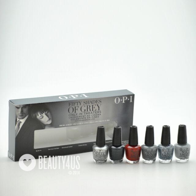 OPI 50 Shades of Grey Ltd Ed 6 Mini Nail Polish Set Silk Dark Gray ...