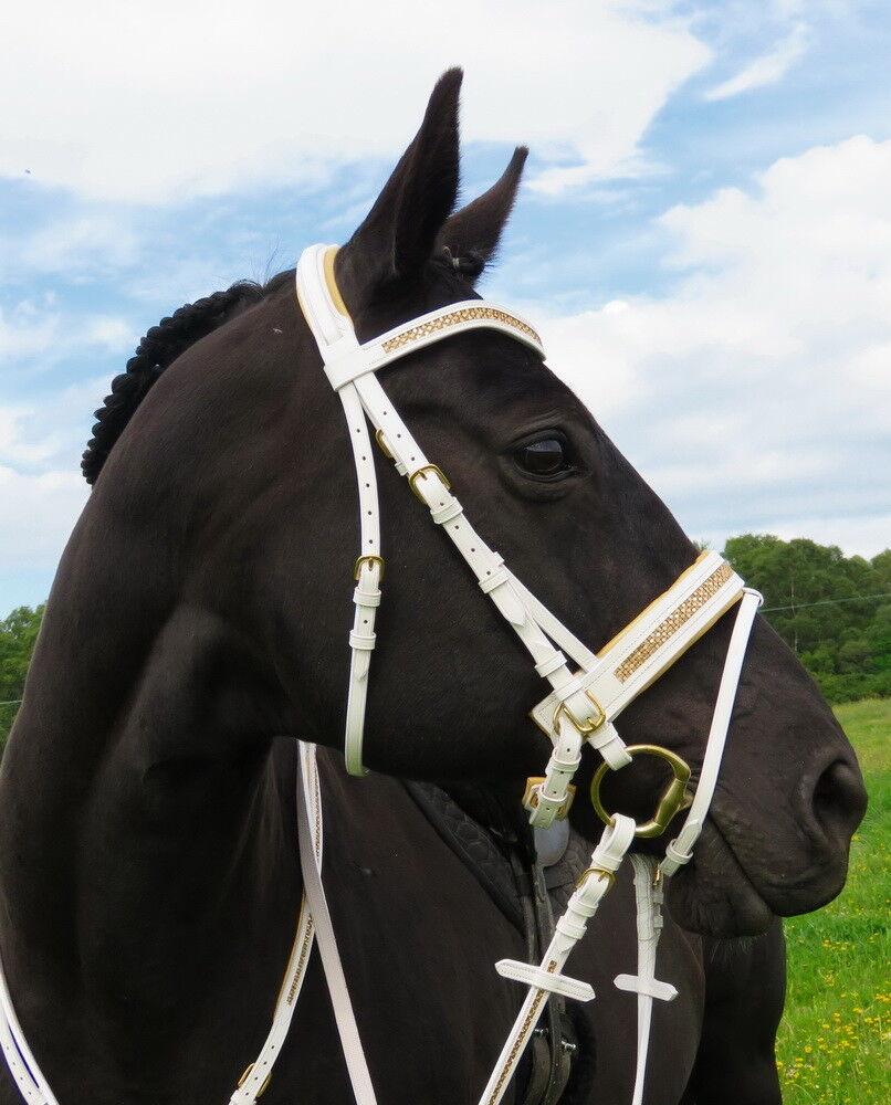 FSS GLISTEN Curve CRYSTAL METALLIC gold BLING CREAM-WHITE PATENT Comfort Bridle