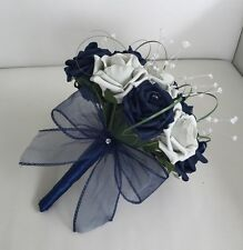 Wedding Flowers Navy Blue Silver Foam Rose Bridesmaid Bouquet