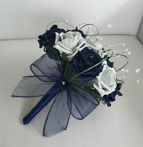 Image Is Loading Wedding Flowers Navy Blue Silver Foam Rose Bridesmaid