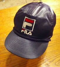FILA Cap Hat Nylon Taffeta Black with White and Red Embroidered Lettering