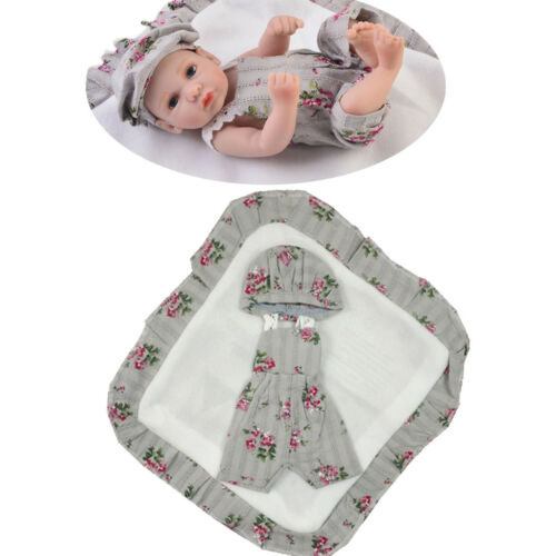 Cute Newborn Baby Doll Clothes for 10-11 Reborn Girl Overalls Beret Hat Set