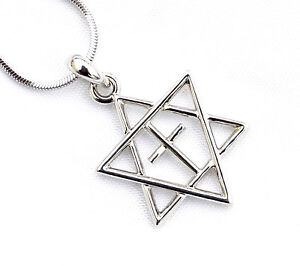H-quality-Necklace-amp-pendant-rhodium-silver-Jewish-Star-of-David-amp-Cross-holyland