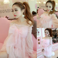 Japanese Girls Cute Sweet bowknot Princess Lolita Kawaii Dolly Pink Dress