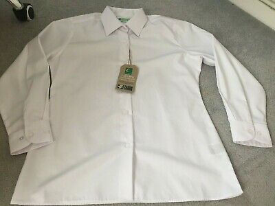 Trutex school blouse girls 30IN 76CM AGE 11YEARS LONG SLEEVE WHITE 100/%COTTON
