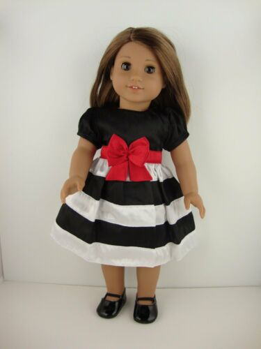 Cute Dress in Black /& White Stripes /& Red Belt for 18 Inch Dolls