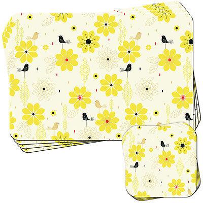 Stylish Modern Flower Bird - Yellow Set of 4 Placemats and Coasters