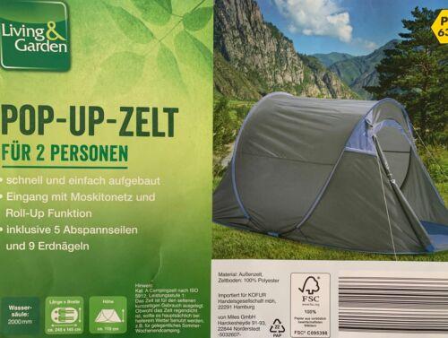 Pop-Up Zelt Wurfzelt Automatikzelt Strandzelt Campingzelt 2 Personen Zelt Blau