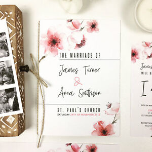 personalised wedding order of service rustic floral booklets wedding