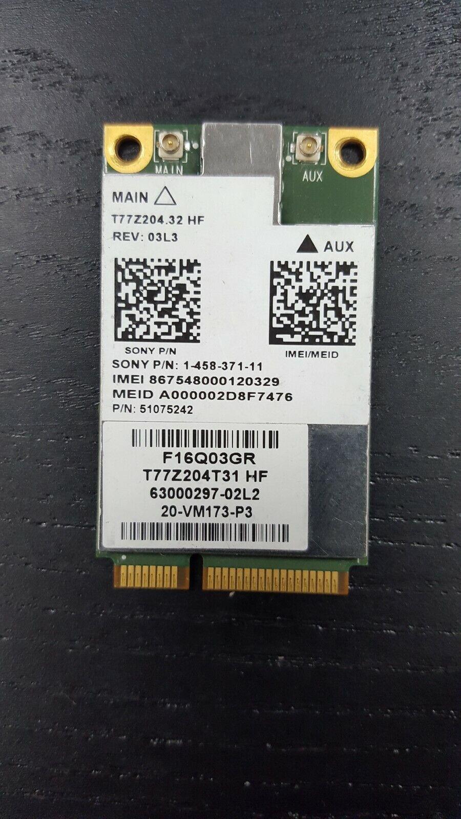 51075242 Sony PCG-41314M WWAN Wireless WiFi Card 1-458-371-11 T77Z204.31