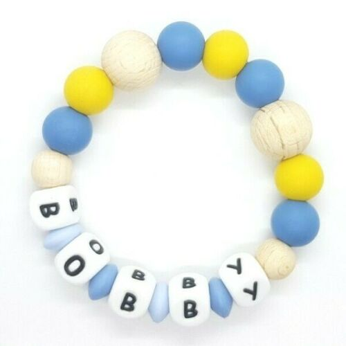 Silicone baby teething ring nursing sensory gift freeP/&P PERSONALISED GREY MULTI