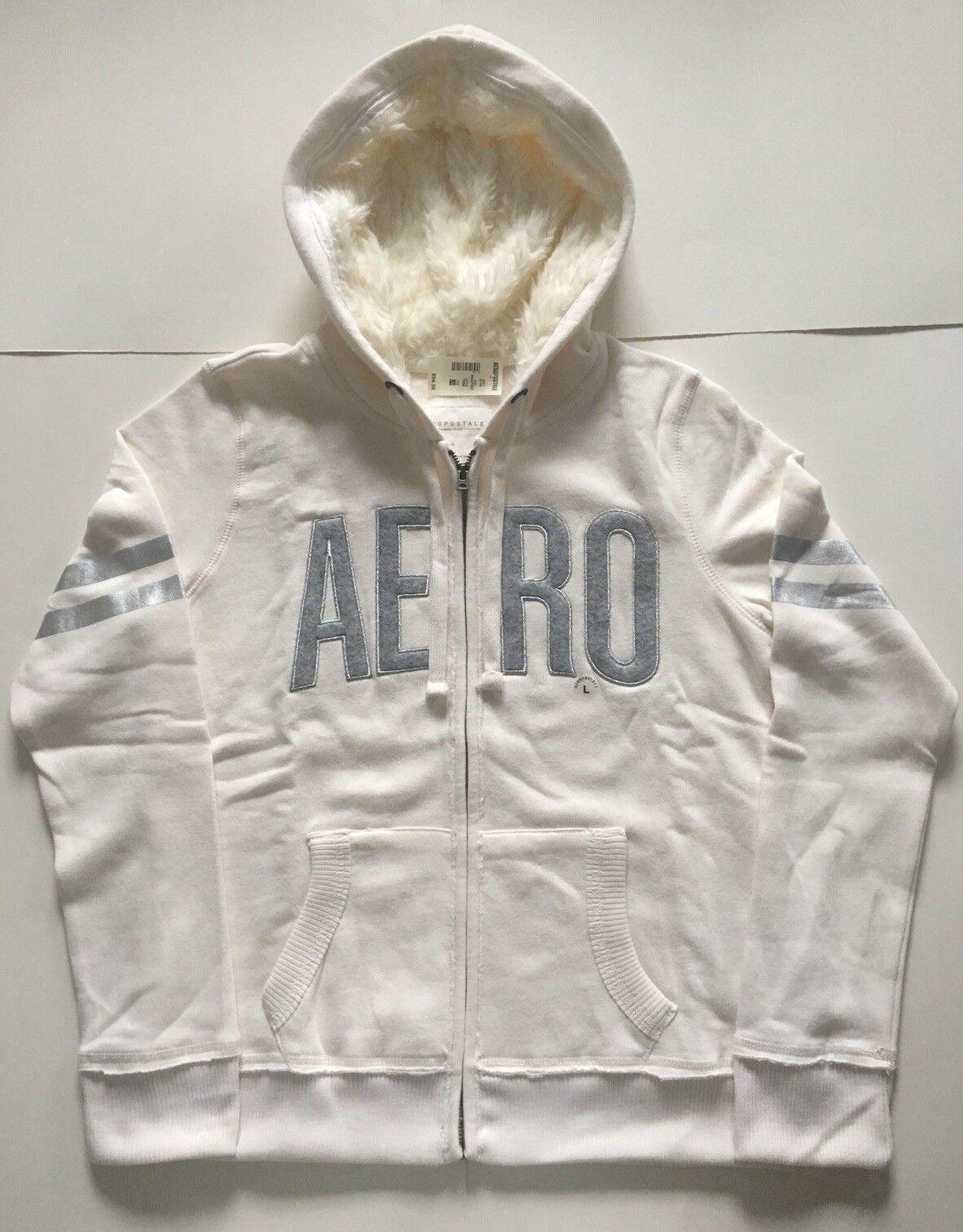 Aeropostale Aero Women's Off White Cream Faux Fur Hood Full-Zip Hoodie XS L XL