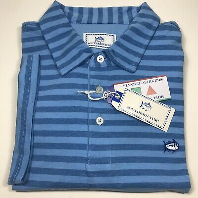 Southern Tide Men's Striped Skipjack S//S Polo.Meridien Blue.Sz.L.MSRP$89.50