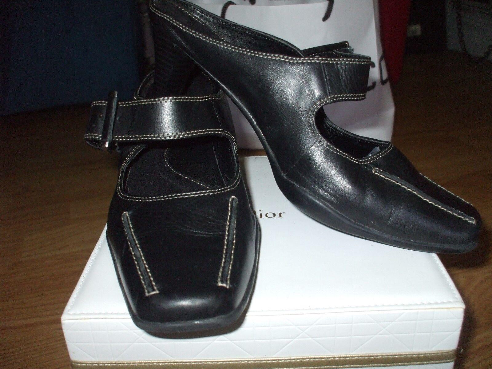 George schwarz Leder buckle slip on comfort work casual mules slides schuhe