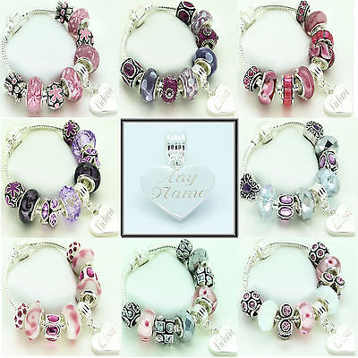 bracelet gift set any name Girls personalised necklace colour and charm!
