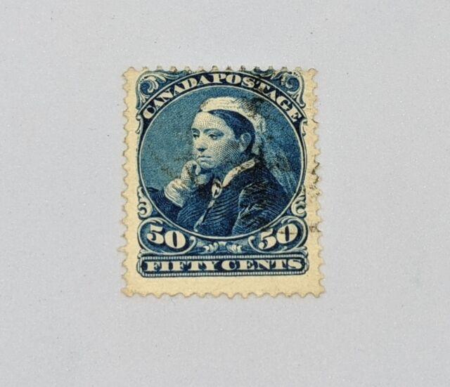 Stamp Pickers Canada 1893 Small Queen Victoria Widow 50c Scott #47 VFU $90+