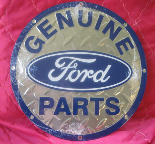 Genuine Ford Parts ROUND SIGN vintage logo metal wall decor garage bar auto shop