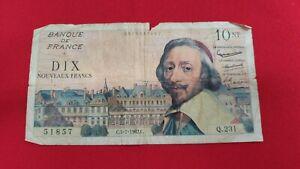 Francia-Billete-de-10Nf-Nuevos-Francos-Richelieu-5-7-1962-REF53128