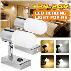 12-24V-LED-Reading-Spot-Light-Bedside-Wall-Lamp-Flexible-Caravan-Camper-RV-Boat