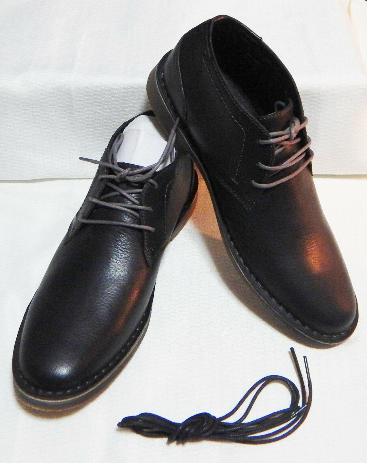 KENNETH COLE PAIR DESERT SUN LEATHER CHUKKA BOOT(BLACK EXTRA PAIR COLE LACES)SZ 12.M #3461 8d3edc