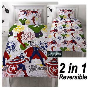 MARVEL-Avengers-MISSION-Singolo-Set-Copripiumino-Reversibile-Biancheria-Da-Letto-Bambini-Ragazzi