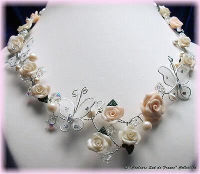 Onestà Collier Unique Artisanal Mariage Roses Résine Et Perles Imitation Nacrées P159 2019 Nuovo Stile Di Moda Online