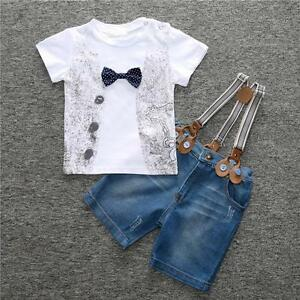 Kids-Baby-Boys-T-Shirt-Denim-Pants-Jeans-Trouser-Clothes-2Pcs-Outfits-Set-New