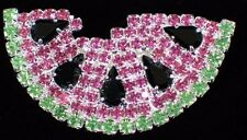 PINK GREEN RHINESTONE FRUIT SUMMER FESTIVAL WATERMELON SLICE PIN BROOCH JEWELRY