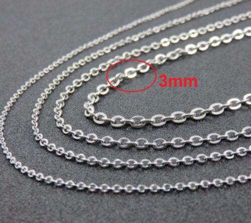 """De 16/"""" a 28/"""" 4mm Acero Inoxidable Enlace Cadena Collar Colgante Plata Rolo stlnk 3S"""