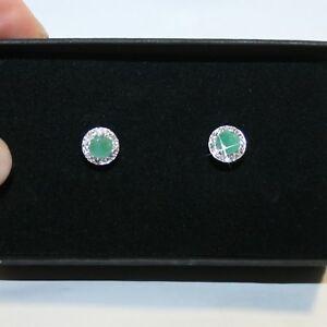 Emerald-Diamond-Alternatives-Halo-Stud-Earrings-14k-White-Gold-over-925-SS