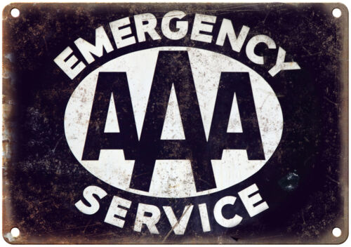 "Porcelain Look AAA Emergency Service 10/"" x 7/"" Reproduction Metal Sign"