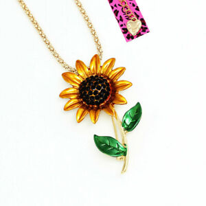 Women-039-s-Enamel-Crystal-Sunflower-Pendant-Betsey-Johnson-Necklace-Brooch-Pin-Gift