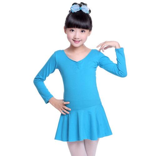 Girls Kids Long Sleeve Leotard Bowknot Ballet Dance Dress Gymnastics Dancewear
