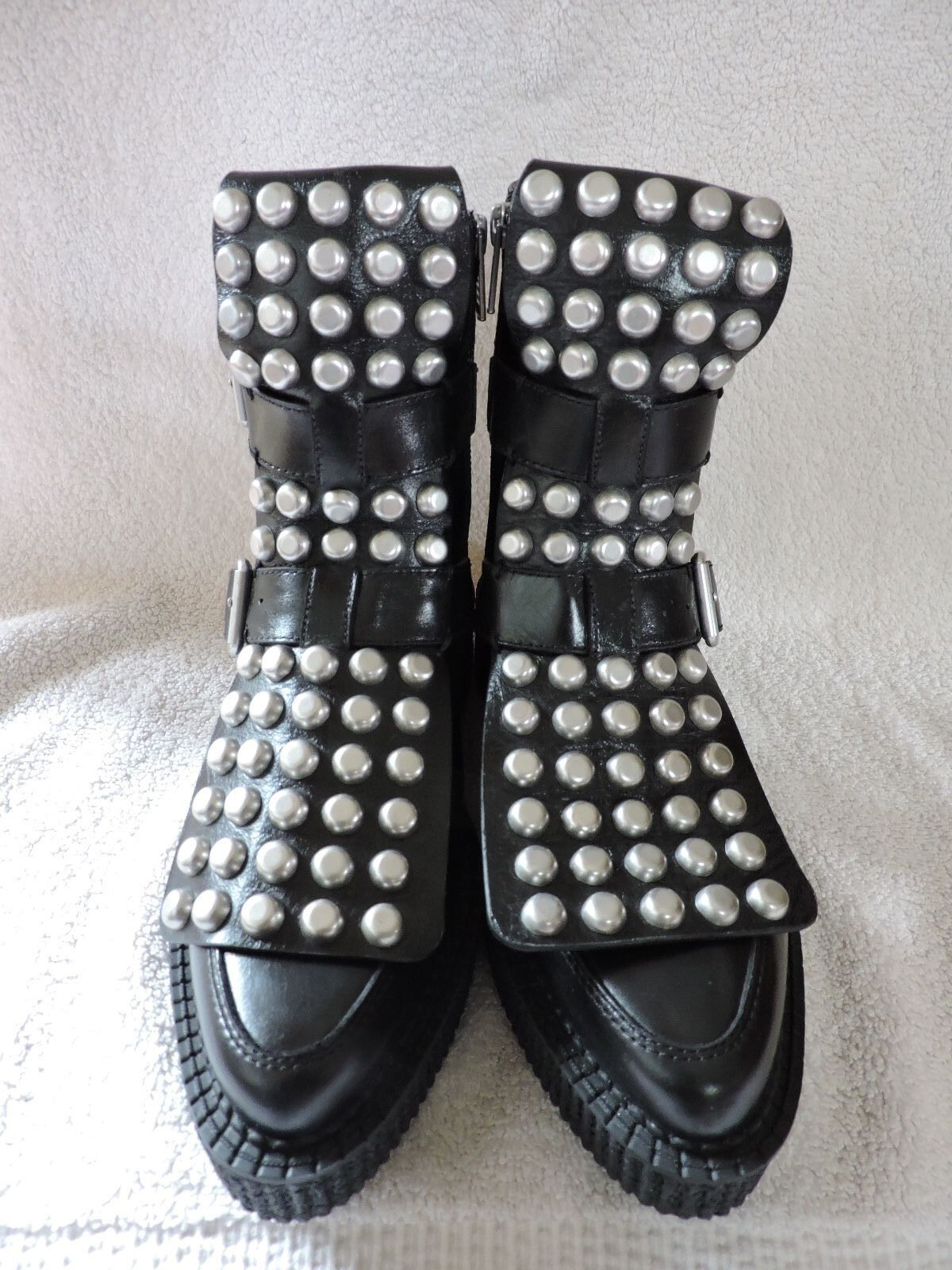NEW  698 MARC by Marc Jacobs Jacobs Jacobs BOWERY CREEPER BLACK LACE UP STUD BOOTS 37 373ca5