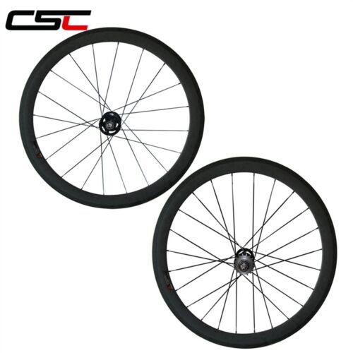 CSC carbon fixed gear wheels 50mm Tubular Clincher carbon track bicycle wheelset