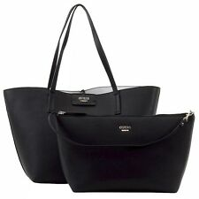 Guess Women's Bobbi Inside-Out Black/White Pebble Reversible Tote Handbag Set